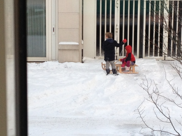 Neighbor kids pulling each other around.  They made a cute (and tiny) snowman also.
