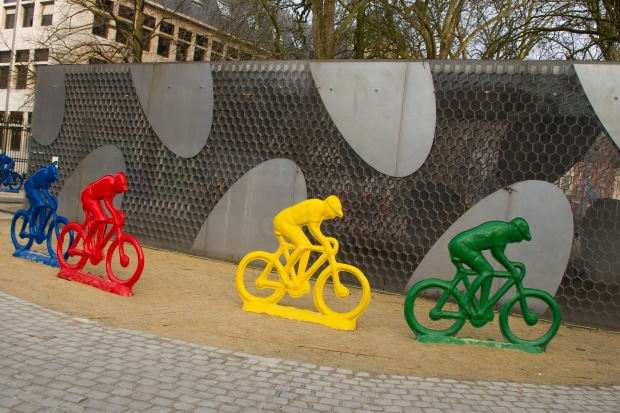 "The ""Tour of Flanders"" bike race was starting in Brugge on Sunday, so that city was preparing!"