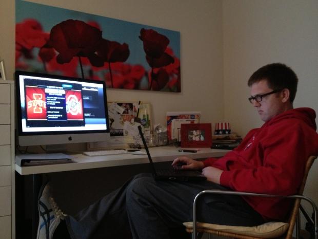 Multi-tasker...working & watching.