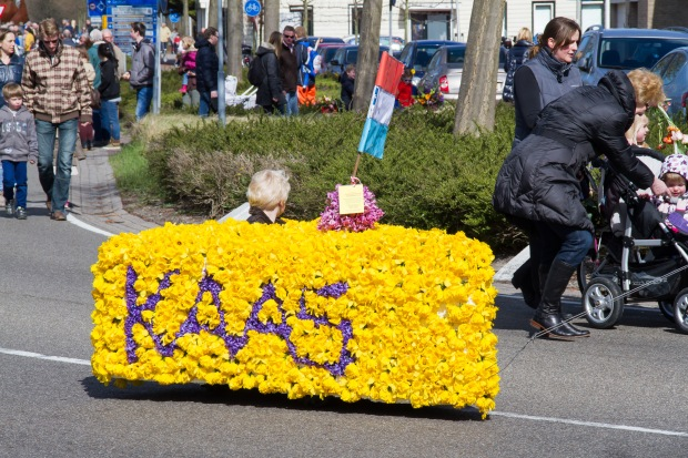 Only in The Netherlands do parades contain a child riding in a block of cheese made out of flowers.