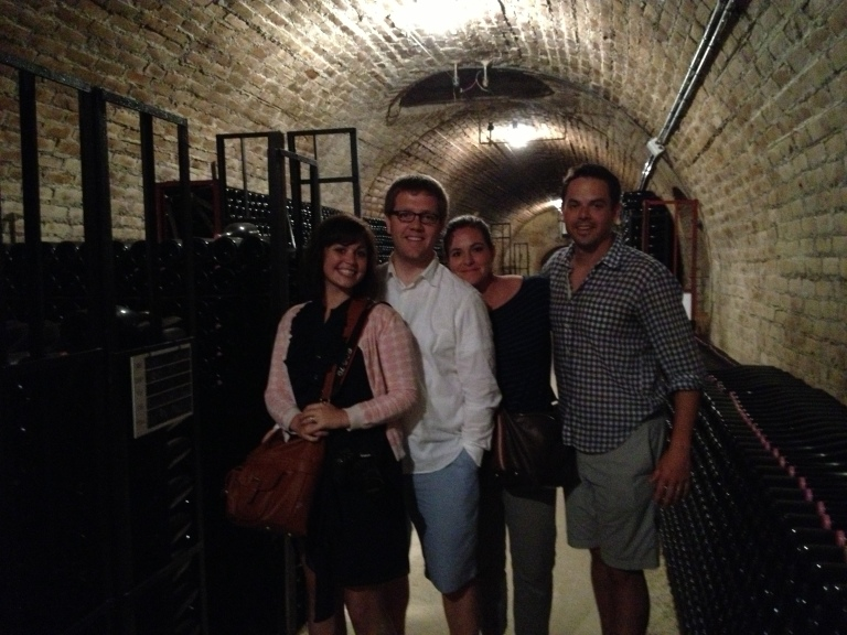 In the cellar.