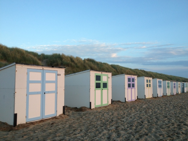 It was lined with these adorable little huts.