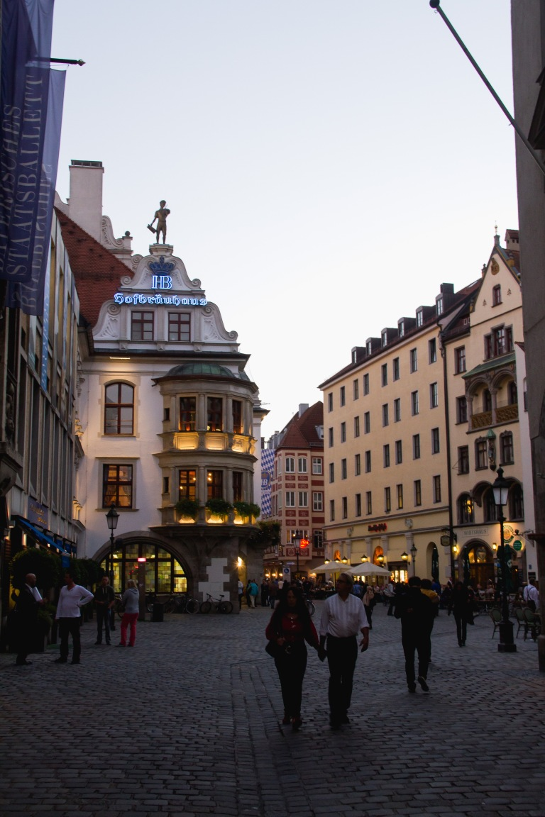 The Hofbrauhaus on the left.