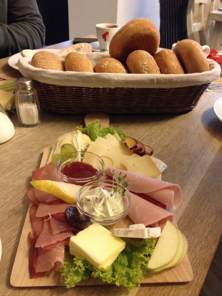 My breakfast platter or meats, cheeses and fruits.