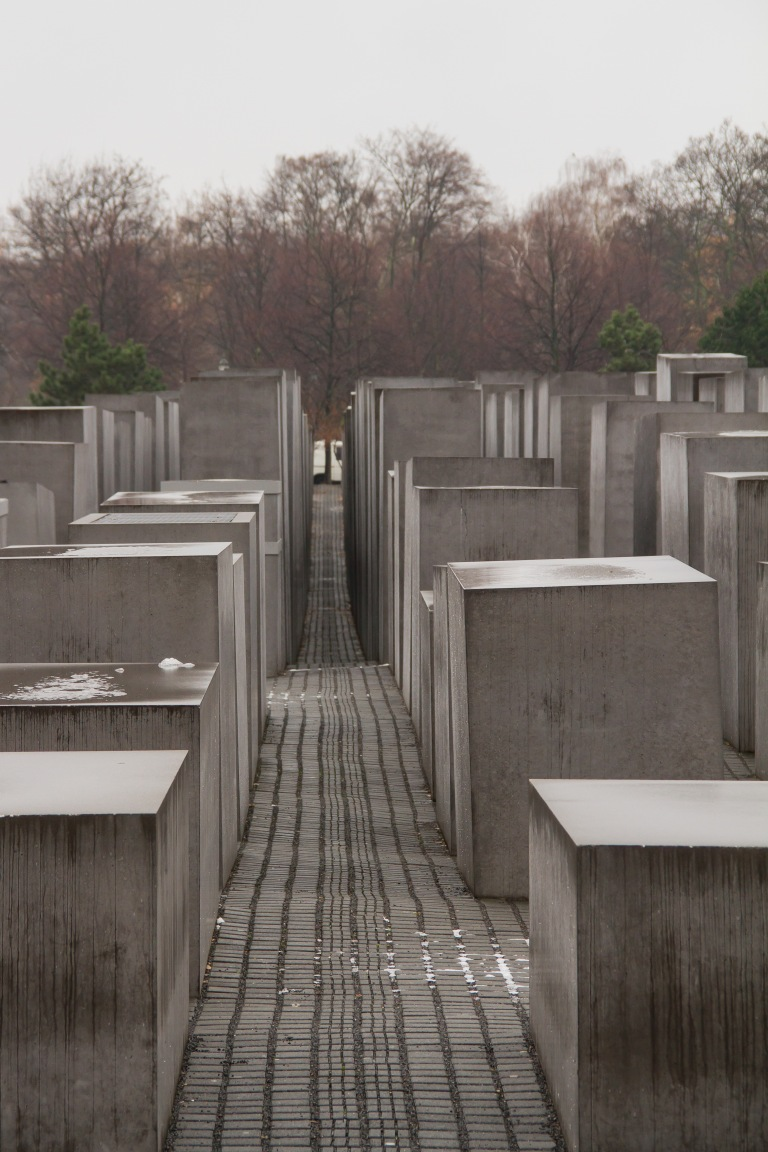 The memorial.  There are over 2500 of these concrete blocks of various heights along an uneven ground.