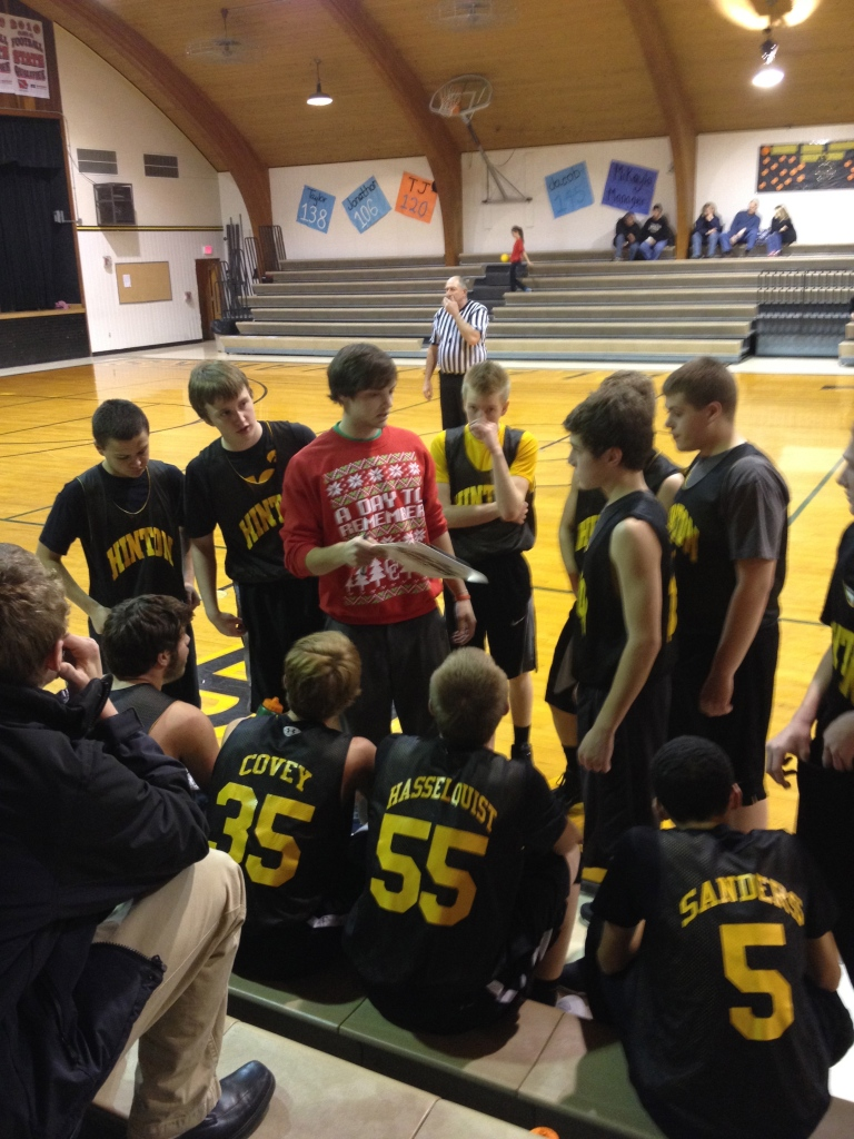 We got to watch Curtis coaching the freshman basketball team!