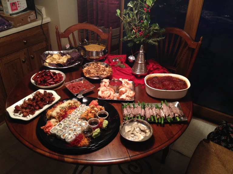 Look at that spread of heavy appetizers for Christmas Eve!  YUMMY!