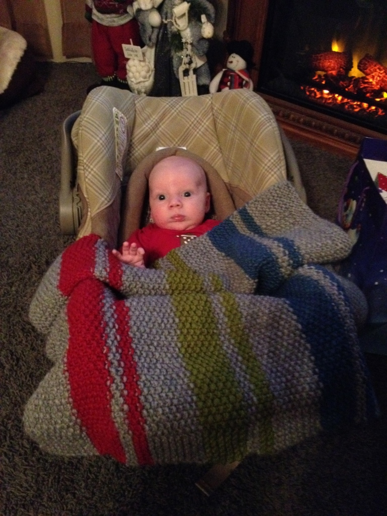 Westen loved his new blanket that I made him!