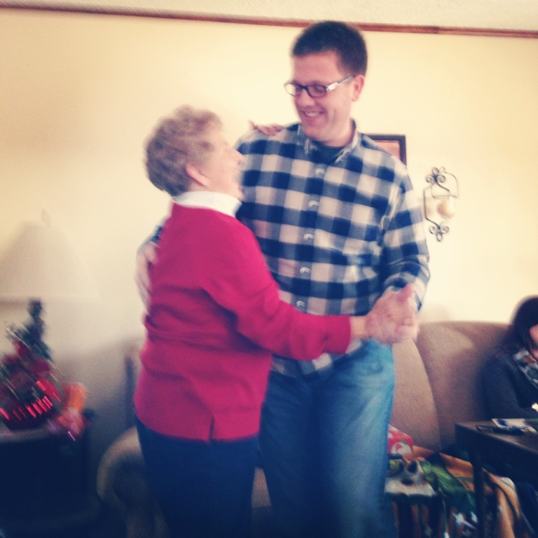 One of the best things that has ever happened to me - my grandma and BC cutting up a rug to old Christmas music. :)