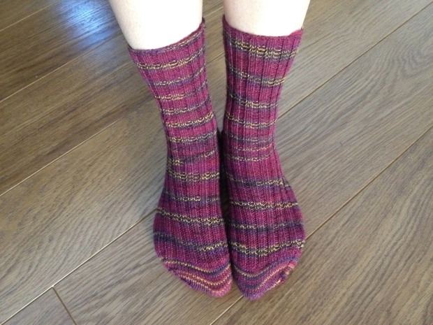 These are my first pair of hand-knitted socks.  I plan to make many more!