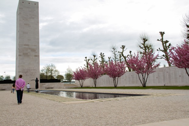 A reflection pond - the walls list all of the names of the missing.