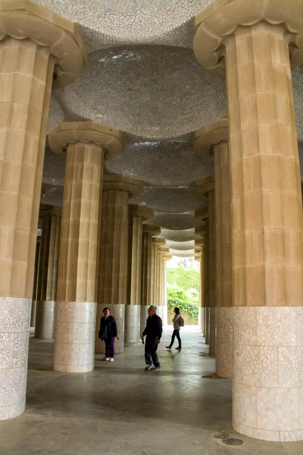 Under the columns.  A market here would be wonderful!