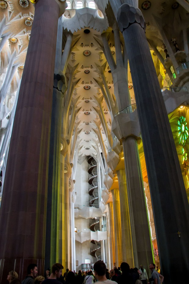 The pillars are based on Gaudi's inspiration from trees.