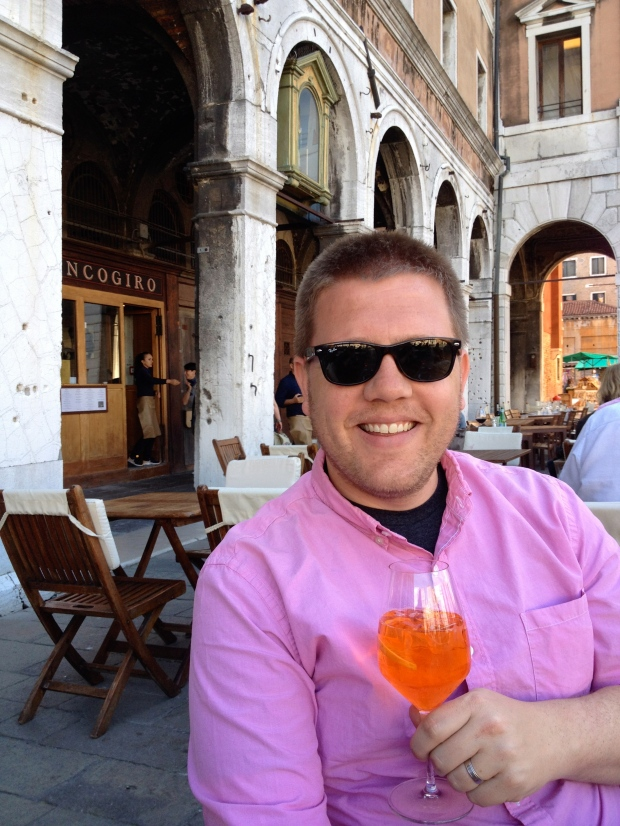 With his spritz.