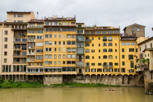 Buildings along the river.