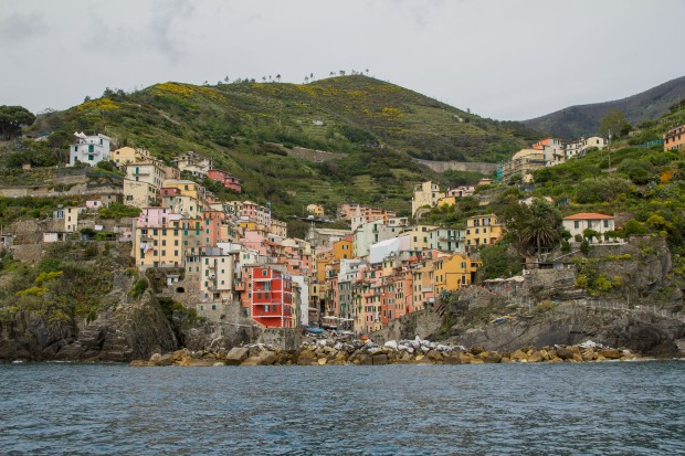 The view of Riomaggiore from the water.