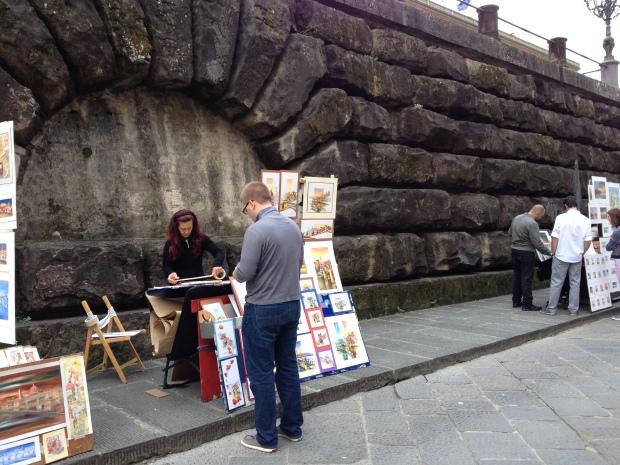Buying some artwork.