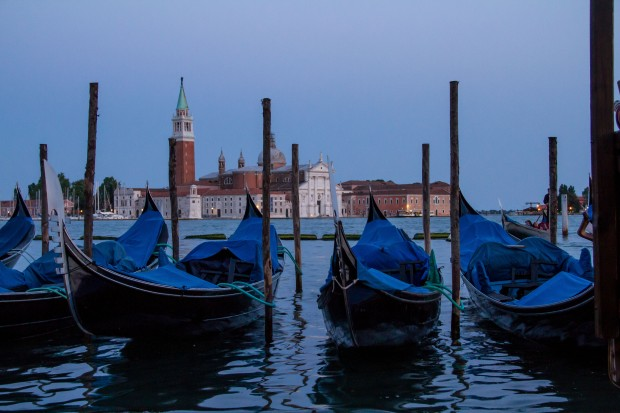 A few gondolas tied up for the night.