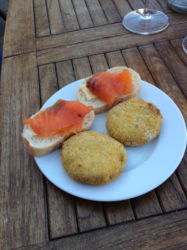 A salmon crostini and pork meatball.  Yummy!