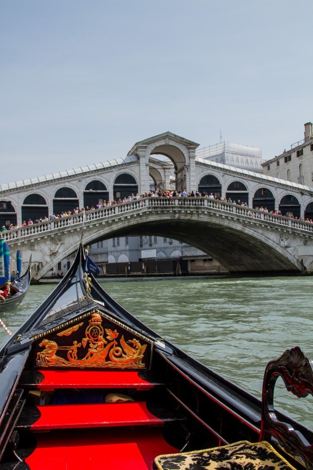 Approaching the Rialto in our gondola.